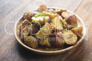 Oven roasted potatoes on plate
