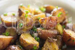 Roasted potatoes close up