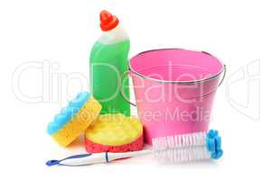 Bucket, sponges and chemical products for cleaning isolated on w