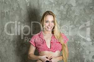 Young woman with checkered blouse