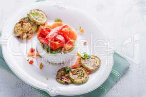 Rice timbale with vegetables