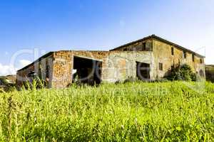 A dilapidated farmhouse in Tuscany