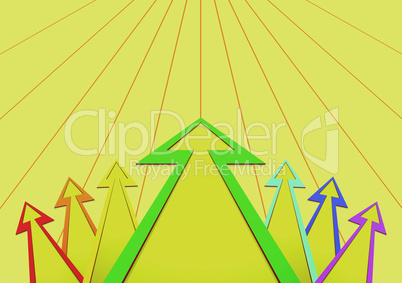 arrows in the form of a fan on a background of a yellow grid