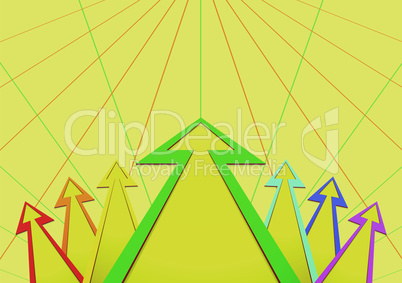 arrows in the form of a fan on a yellow background