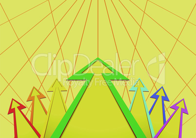 Multicolored arrows on a yellow background