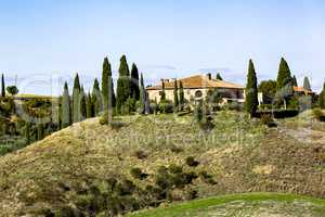 Wonderful landscape with country house in Tuscany