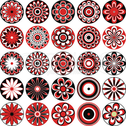 Set of stylized flowers in black, white and red
