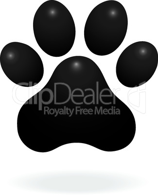 Dog or cat paw print flat icon for animal apps and websites. Paw tattoo Print. Vector
