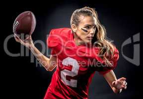Woman playing american football