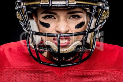 American football player in helmet