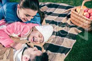 Happy family having fun in park
