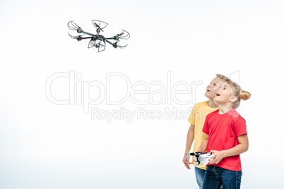 kids playing with hexacopter drone