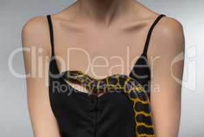 Woman and snake on her breast