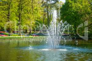 Pond with a fountain in the park