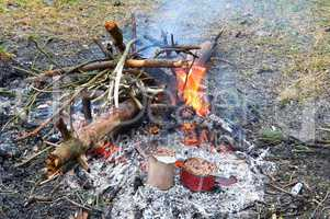 tourism, preserves, porridge in a jar, heat on the fire