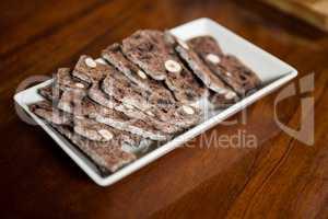 Baked snacks on tray