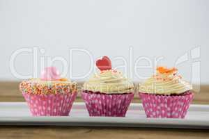 Close-up of delicious cupcake in tray