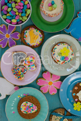 Various sweet foods served in plates