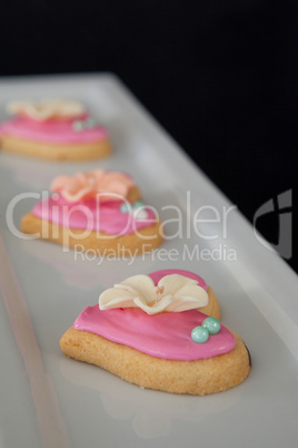 Gingerbread heart shape cookies in a serving tray
