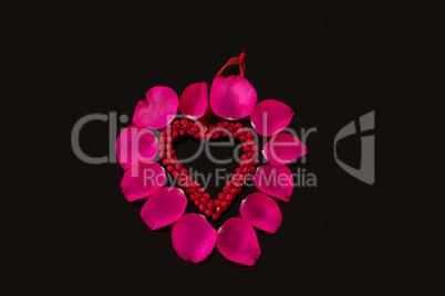 Decoration heart shape against black background