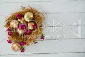 Golden Easter eggs in the nest