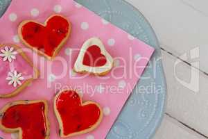 Heart shape gingerbread cookies on plate