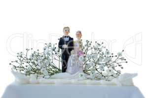 Wedding cake with couple figurines