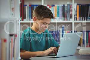 Schoolboy using laptop in library at school