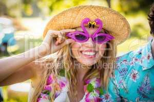 Beautiful woman in fancy sunglasses