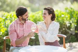 Couple toasting wine glasses while sitting