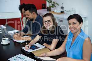 Business executives in a meeting at office