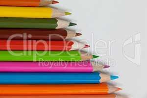 Colorful color pencil arranged in diagonal line