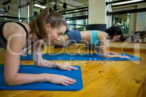 Fit women performing exercise