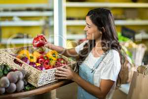 Smiling woman picking bell pepper from the basket