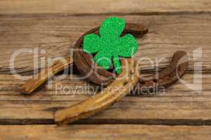 St Patricks Day shamrock with two horseshoes