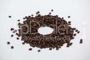 Coffee beans forming doughnut