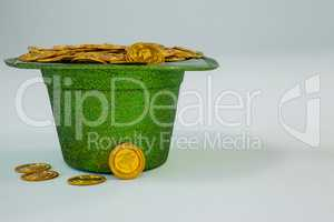 St. Patricks Day leprechaun hat filled with chocolate gold coins