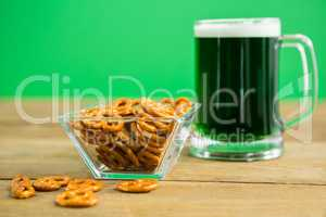 St Patricks Day beer with pretzel