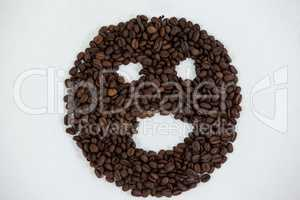 Coffee beans forming face