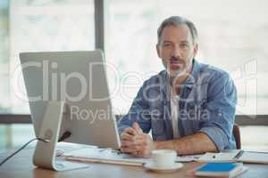 Portrait of male executive sitting at desk