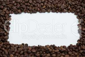 Coffee beans forming rectangle