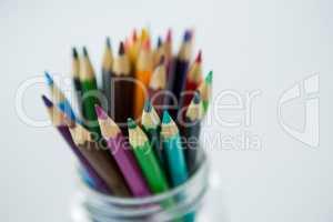 Colored pencils kept in jar