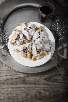 Jewish Pastry Hamantaschen on a table for Purim Holiday.