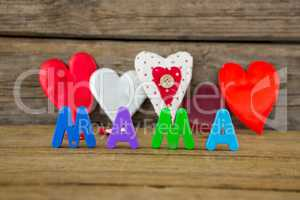 Heart shape with alphabet reading mama