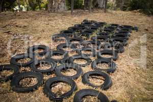Boot camp with tyres obstacle course