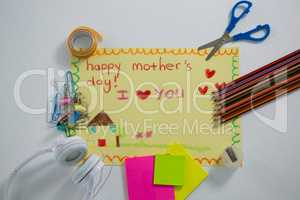 Stationery with happy mothers day greetings card