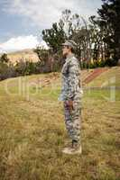 Military soldier standing at attention posture