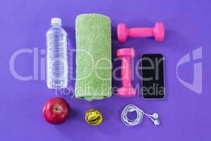 Water bottle, towel, measuring tape, dumbbells, apple, mobile phone and headphones