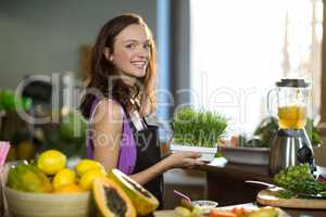 Shop assistant holding a tray of herbs in health grocery shop
