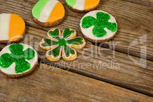 St. Patricks Day cookies decorated with irish flag and shamrock toppings